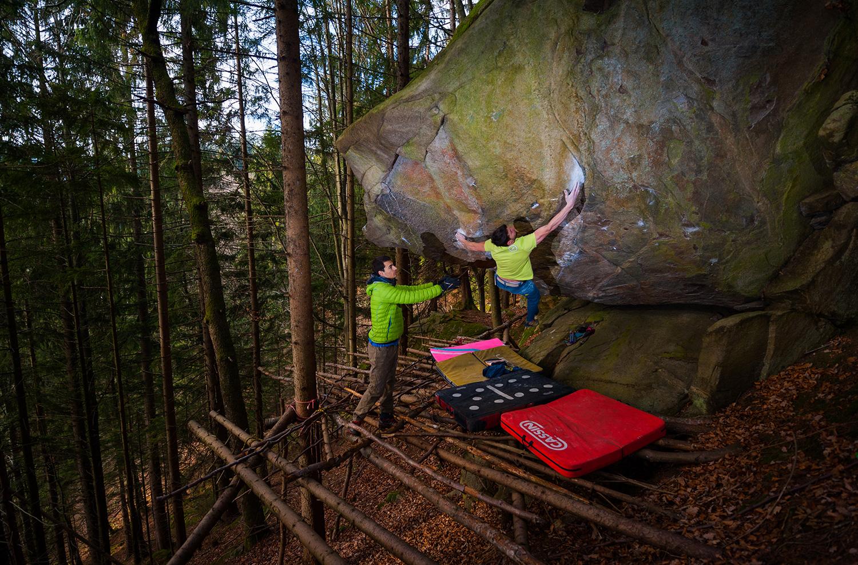 Jernej Kruder bouldering in Pohorje Slovenia