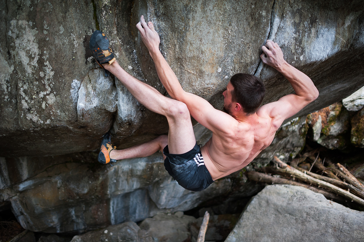Jernej Kruder sending Riders on the Storm 8b, Magic Wood