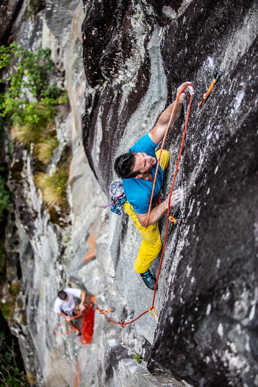 Jernej Kruder climbing in Valbavona